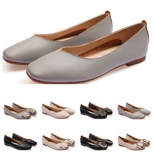 dames Chaussures plates taille lager 33-43 femmes fille nue en cuir gris noir Nouveau arrivel mariage Groupe de travail chaussures habillées Cinquante-cinq