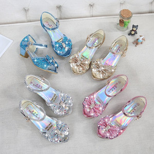 4 colores Snow Queen princesa de cuero sandalias del bebé muchachas de los cabritos los altos talones de los zapatos de vestido de baile Crystal sandalias de los niños del Arco-nudo Zapatos C2295-1