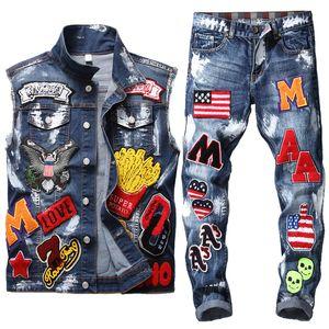 Jeans Hommes Costume Lavé crâne brodé peinture Cowboy Gilet + Petit droit Drapeau Insigne brodé peinture Slim Jeans Street Style ensemble 2 pièces