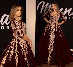 Burgundy Velvet Evening Formal Dresses with Half Sleeve 2020 Luxury Lace Applique V-neck Kaftan Caftan Arabic Occasion Prom Dress