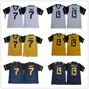Hombre y juventud # 7 Will Grier 13 David Sills V azul amarillo blanco West Virginia Mountaineers Kids College Football NCAA Jerseys