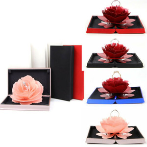 3D Pop Up Rose Ring Box Boda Compromiso Joyería Almacenamiento Holder Case Bump