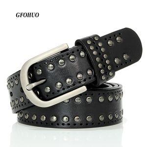 Gfohuo Fashion Luxury Designer Cinture Rivet alta qualità in vera pelle vintage donne Cowskin cintura per jeans C19041101