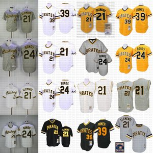 Pittsburgh Throwback 21 Roberto Clemente 39 Dave Parker 24 Barry Bonds Mitchell e Ness Cooperstown Jersey poco costosa