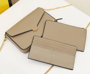 Design 3 piece set ladies fashion classic leather small square bag ladies luxury simple chain shoulder oblique cross bag gift 41801