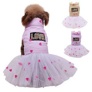 Dog Pet Warm Dress LOVE Letter Cotton Coat Cat Puppy Skirt Autumn Winter Tutu Dress Clothes Pet Warm Apparel