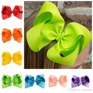 Bebé niños 20 colores 8 pulgadas cinta arco clips de horquilla chicas grande sólido bowknot bandera boutique arcos niños accesorios para el cabello