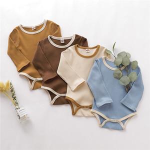 Neueste INS Designer Säuglings-Baby-Jungen-Mädchen-Jumpsuits Blank Gestrickte Lätzchen O-Ansatz lange Hülsen-Herbst Neugeborene Strampler Baumwolle Baby Onesies