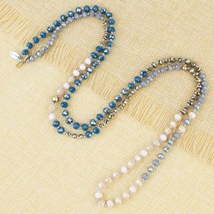 KELITCH Kristall-Perlen-Halsketten für Frauen langkettige Garganti Geflochtene wulstige Ketten Femme Statement Boho