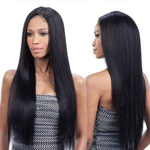 European and American wig female African black mid-length long straight hair high temperature silk full headgear