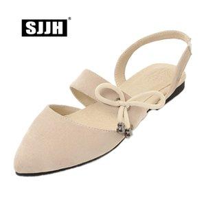 SJJH 2018 donna sandali in pelle scamosciata con tacco piatto punta a punta solido confortevole calzature casual elegante scarpe di grandi dimensioni A556
