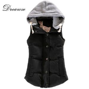 Cotone Moda Dreawse autunno-inverno delle donne della maglia senza maniche con cappuccio Patchwork collare cappotto casuale Colete Feminino Gilet MZ1517