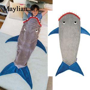 Shark cobertor cauda de sereia saco de dormir crianças saco de dormir de lã outono e inverno espessamento quente para as crianças Menino menina T188 D19010902