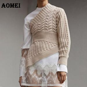 2019 Mulheres de Inverno camisola de malha Um Ombro morno Crochet Jumpers Bege Cinzento pulôver das senhoras da senhora do escritório queda Moda Malha Tops Pull