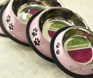 Собака миски Нерж.сталь пищи и воды собаки шара любимчика фидер собаки шара три конфеты цвета кости