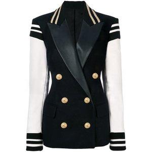 숙녀 가죽 패치 워크 더블 브레스트 대표팀 블레이저 재킷에 대한 최고 품질 최신 패션 디자이너 세련된 재킷