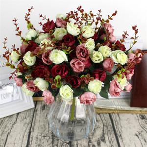 1 باقة 21 رئيس روز الاصطناعي ملون الزفاف الحرير الزهور وهمية قادرة الزهور على الجمال المنزل حفل زفاف ديكور زهرة