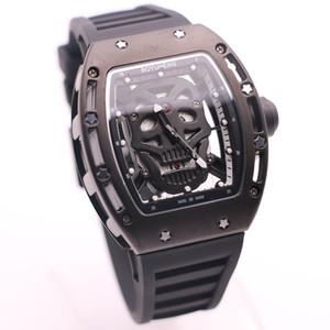 الاستبداد BOYUHENG باتري 43MM الأسود جمجمة الهيكل العظمي الهاتفي الساعات اثنين من الأيدي رجل تونيو حالة شفاف حركة كوارتز ساعات المعصم