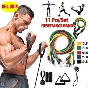 US 11pcs STOCK / set Tração da corda Fitness Exercícios faixa da resistência Latex Tubes Pedal Workout Excerciser Formação Elastic Yoga Banda ATACADO