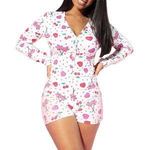 Frauen-reizvolle Nachtwäsche Adult Pyjamas Cartoon-Plätzchen One-Piece-Pyjamas Nachtwäsche Short Spielanzug-Overall Bodysuit Homewear Nachtwäsche