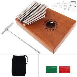 17 Key Kalimba Single Board Mahogany Thumb Piano Mbira Mini Keyboard Instrument with Complete Accessories free shipping