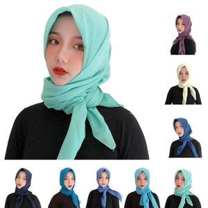 New Plain Muslim Women Voile Hijab Square Scarf Islamic Head Wrap Scarves Headscarf Turban Bandanas Khimar Long Scarf 100*100cm