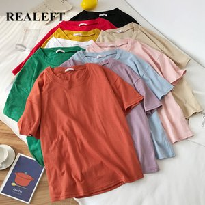 REALEFT 2020 New Summer Solid Short Sleeve Women's T-Shirts Simple Multi Color Cotton O-Neck Casual Loose Shirts Tops Tee Ladies CX200708