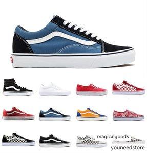 2020 Van moda Klasik old skool sk8 Casual Ayakkabı Erkekler Kadınlar tuvale 1970'ler Yıldız OG siyah beyaz, kırmızı, mavi dama tahtası spor ayakkabısı