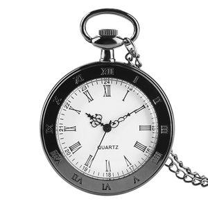 Chiffres romains classiques Montre de poche Montre à quartz pour hommes femmes Old Fashion Open Face Pendentif Collier Cadeaux Enfants reloj