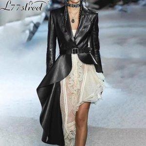 L77street Dark black British Suit collar Irregularly slanted PU lambskin Long windbreaker Leather coat
