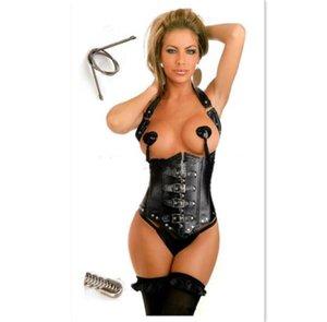 Vita tummy shaper nero punk a vapore in pelle aperta reggiseno corsetto bustier sexy lingerie cintura fibbia cinturino in maglia donne lace up corsetti CZ154