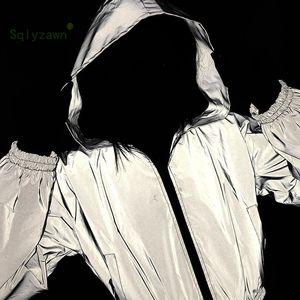 Reflektierende Silber Kapuzen Langarm Bomberjacken Herbst Frauen Streetwear Grau Ultraleicht Gothic Hoodie Mantel Weibliche Kleidung