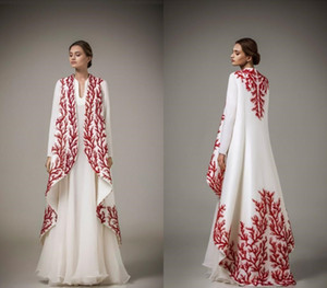Длина арабский Дубай Кафтаны Вечерние платья мусульманская Красный Вышивка с длинным рукавом пола партии платья вечера Wear сшитое (Только пальто)