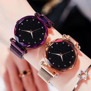 Dropshipping Frauen-Armband-Uhren Minimalism Sternenhimmel Magnet Schnalle Mode Beiläufiges weibliche Dame-Kleid-Armbanduhr