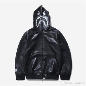 Горячая Купание Ape 19Bape Япония Shark Black Leather Jacket Хип-хоп Повседневный Hoodie Пальто