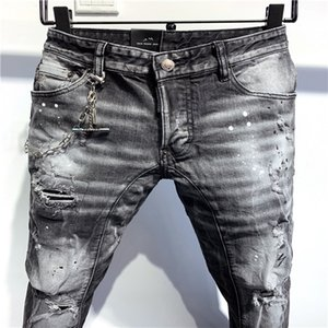 2020 high-quality men's jeans, distressed jeans, rock skinny, slim, holed stripes, fashion embroidered denim pants