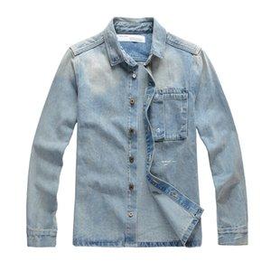 2020 new men's fashion gravely arrow print denim jacket men's loose long sleeve coat women's light favour personality design 0266