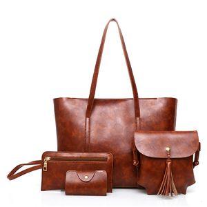Luxury Handbags Fashion Women Totes Bags Patent Leather Shoulder Bag Tassel 4 Piece Set Composite Bag 2018 Sac Main Femme