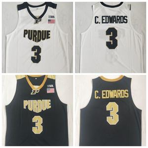 Mens Purdue Boilermakers Carsen Edwards College Basketball Maglie C. Edwards # 3 camicia cucita Pallacanestro Nero S-XXL