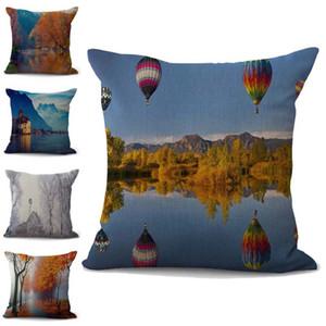 Natureza Cenário fronha Fronha lençóis de algodão Lance Praça Pillow Covers 10 cores personalizadas gratuito 45x45cm 100g
