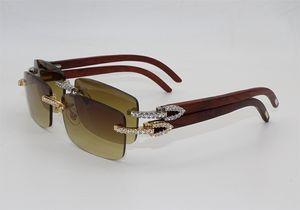 2020 neue Luxus-Metall Sonnenbrillen Dekoration Diamant-Marken-Designer-Sonnenbrillen Männer Frauen Mode Naturholz- Randlos Sonnenbrille 3524012