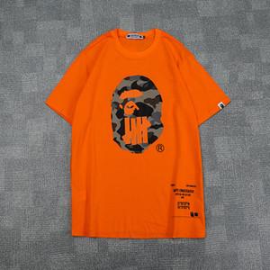 Yeni Varış Yaz Genç Camo Karikatür Baskı Siyah Beyaz Turuncu T-Shirt Erkek Kadın Casual Yuvarlak Boyun Hip Hop T-Shirt Boyutları M-2XL
