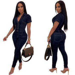 2019 Women Sexy Bodycon Denim Summer V- 목 Jumpsuits 롬퍼 의상 Short sleeve casual fashion Bandage Pleated Jumpsuit Deep Blue