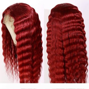 A Pre Plucked Red Color Long Deep Wave 13x4 Lace Front Human Hair Wigs With Baby Hair Brazilian Remy Transparent Lace