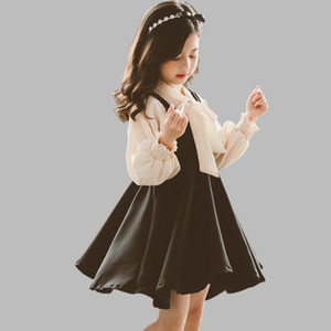 Kids Clothes Girls Blouse + Dress Clothing For Girls Big Bow Sets Clothing Solid Color Costumes For Children