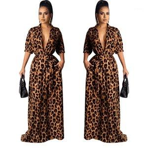 Vêtements Style De Mode Casual Vêtements Femmes Léopard Desinger Maxi Robes Automne V Cou Moitié Manches Sexy Femelle