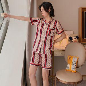 Brand Pajamas Little Bees Sleepwear Summer Ice Silk Short Sleeve Summer Thin Ladies Home Service Loose Two-Piece Suit