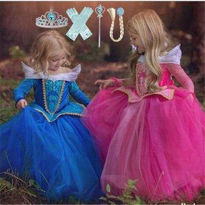 Meninas Aurora Princesa Costume Rose manga comprida Dormir Pageant Partido Beleza vestido Crianças Fancy Dress Up Costume Frocks
