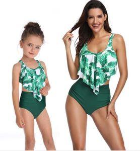 2019 mulheres crianças Biquinis definidos Dividir maiô impressa biquíni cintura alta das mulheres com babados para pais e filhos Trajes de banho terno de banho
