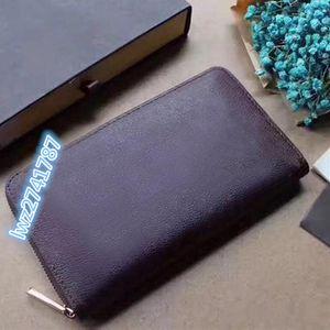 high quality classic genuine leather men ZIPPY ORGANIZER wallet clutchbag handbag with box 21.0x12.0x2.0cm